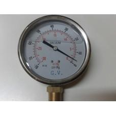 VACUOMETRO INFERIOR DE ACERO INOXIDABLE CON GLICERINA DIAMETRO 100MM ESCALA 0 A -76 CMHG