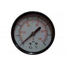 MANOMETRO DIAMETRO 40 HIERRO POSTERIOR 0 A 2 KG.